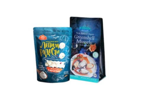 Frozen food packaged in pouches